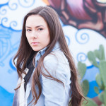 senior portrait downtown phoenix in front of a grafitti wall