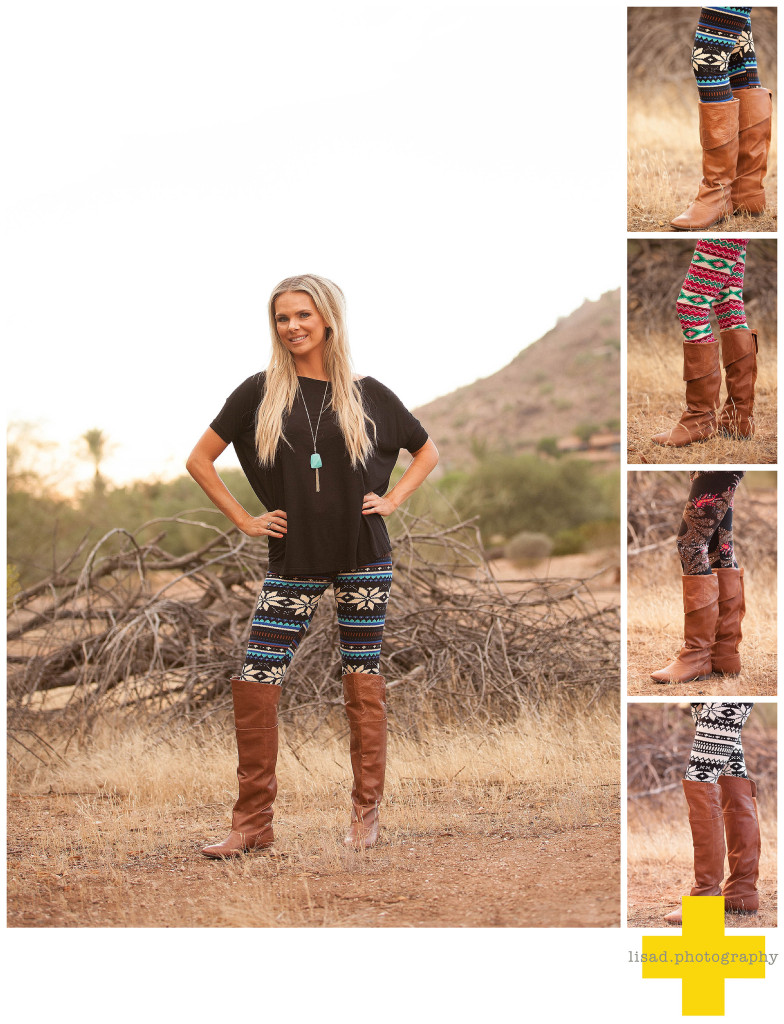 photo of model wearing leggings from StyleLoveLiving Boutique photographed by phoenix fashion photographer lisa d. flader of lisa d. photography in the desert
