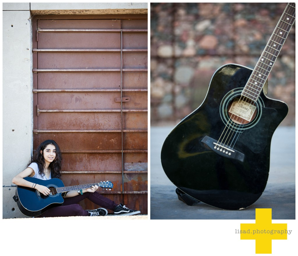 Phoenix Senior Pictures with guitar taken by Lisa d. Photography