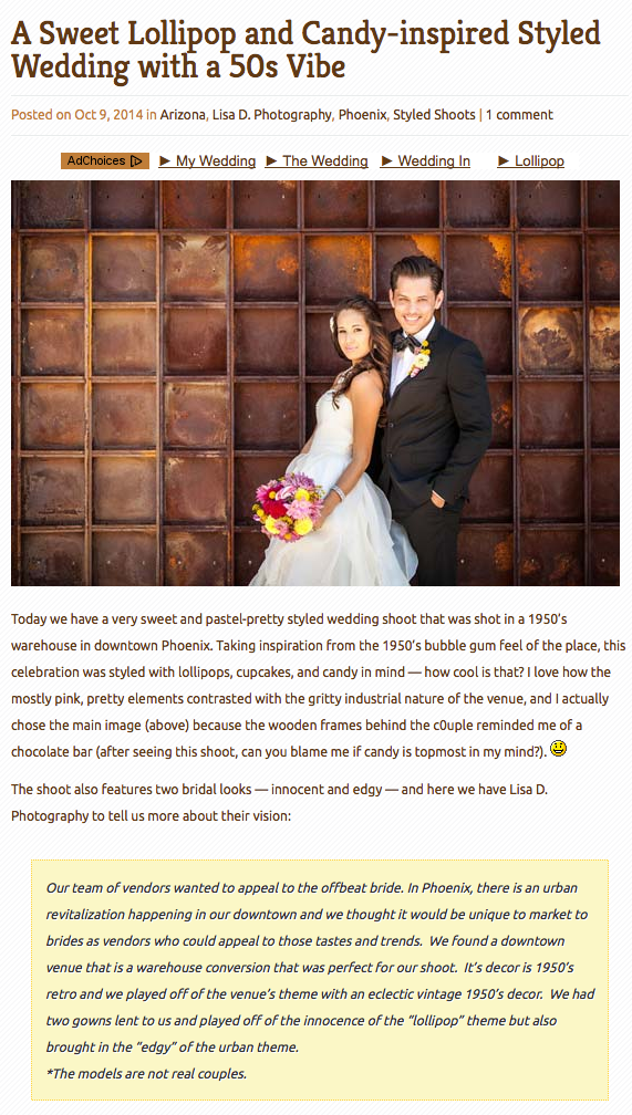 Lisa d. Photography featured in Poptastic Bride Wedding blog