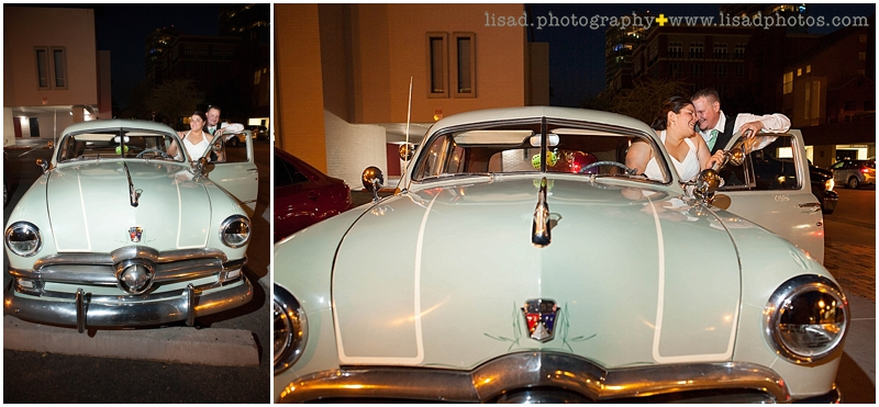 Hackett House Tempe | Tempe wedding photographer | Lisa d. Photography | old fashioned car