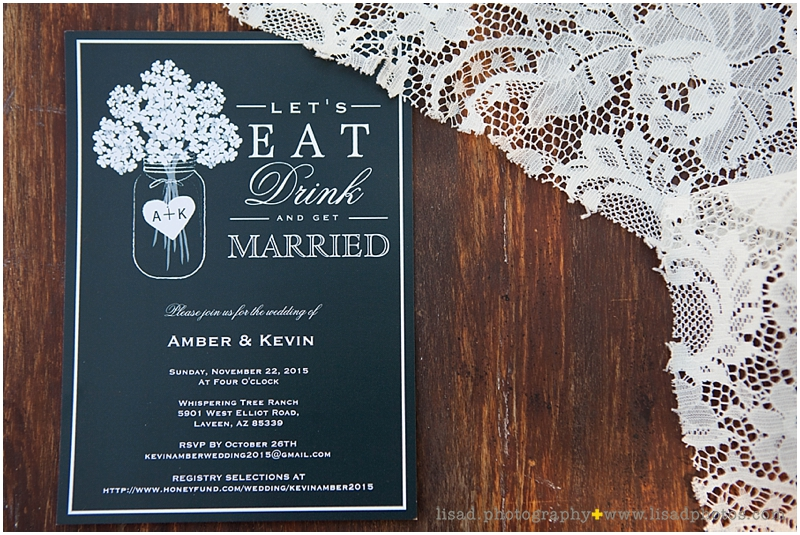 Whispering Tree Ranch Wedding in Laveen, AZ | Lisa d. Photography | Rustic wedding invitation